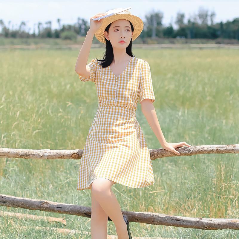 6113#特价20元不退可换同款【现货实拍】超文艺复古格子连衣裙