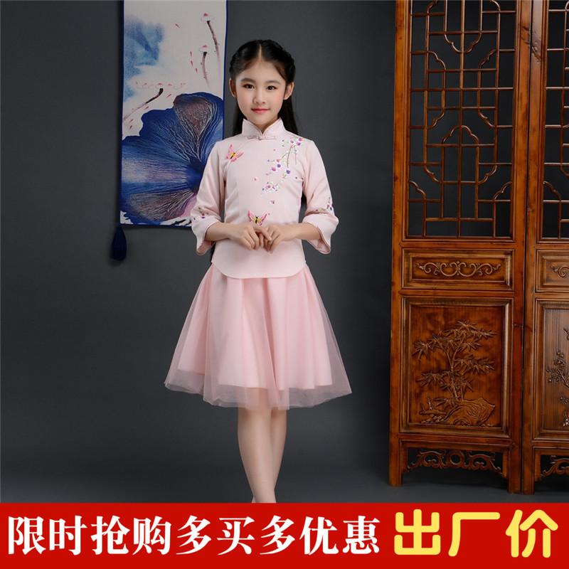 Cô gái hanfu váy 2018 mùa xuân và mùa hè mới váy công chúa váy trẻ em bé Trung Quốc phong cách tang váy sợi váy