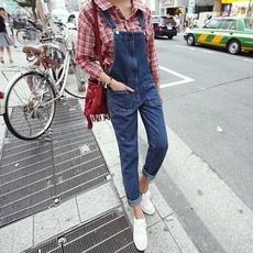 韩版新款时尚休闲多口袋拉链背带裤小脚牛仔裤6257#