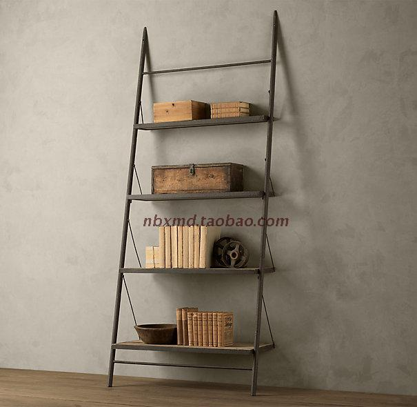 美式铁艺书架 实木混搭LOFT风格家具 梯形书架 置物架 做旧电视架