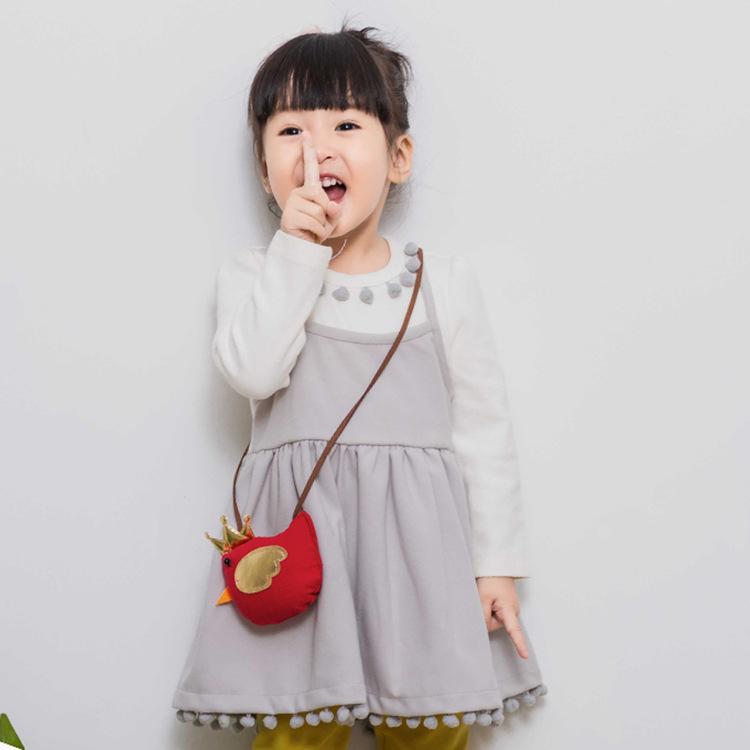 春秋款童装idea女童圆领假两件儿童裙子 韩版流苏公主裙0-3岁