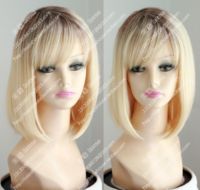 taobao agent Oblique bangs bobo women's wig, face closed, golden highlights and brown short hair on top of the head, European and American soft girl cute things