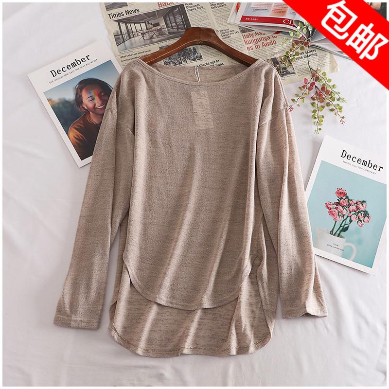 Mùa thu sản phẩm mới lỏng vòng cổ cao đàn hồi dài tay áo màu rắn phần mỏng áo thun áo len nữ 25395