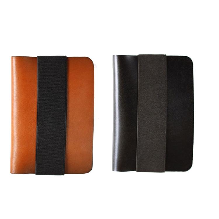 Nhập khẩu châu âu Atelier Pall handmade da đơn giản thẻ ví bộ với cao su vành đai mạnh mẽ