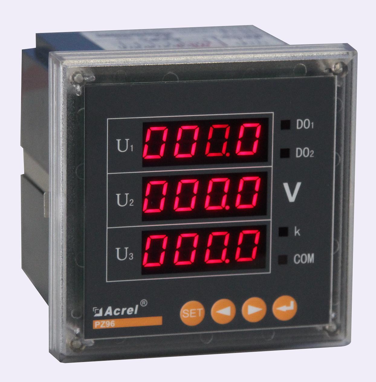 安科瑞厂家PZ96-AV3/KC 三相电压表 数码显示 开关量 RS485通讯