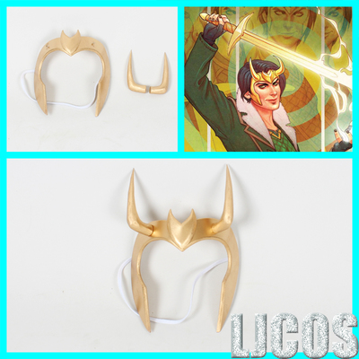 taobao agent 【LJCOS】Rocky fairy palace commissioner mask headdress golden horn helmet cosplay props