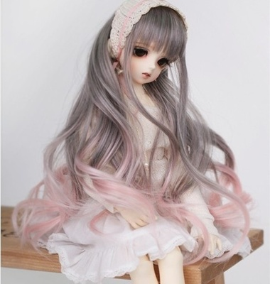 taobao agent 【wig】1/4 1/6BJD/SD doll wig 4 points 6 points cute gradient color curly hair imitation official hair-FB30