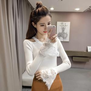 2017秋冬新款韩版蕾丝修身针织衫套头打底喇叭袖毛衣