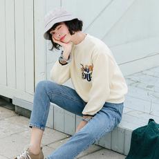 清货-LEMON-冬学院风学生清新宽松长袖刺绣加绒加厚卫衣杏9162
