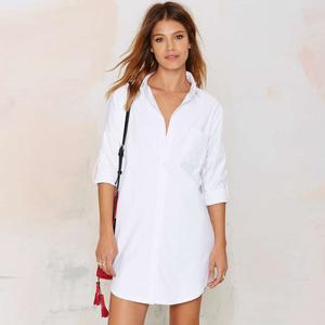 5157#速卖通EBAY新款经典翻领长袖衬衣 白色性感单排扣中长款衬衫