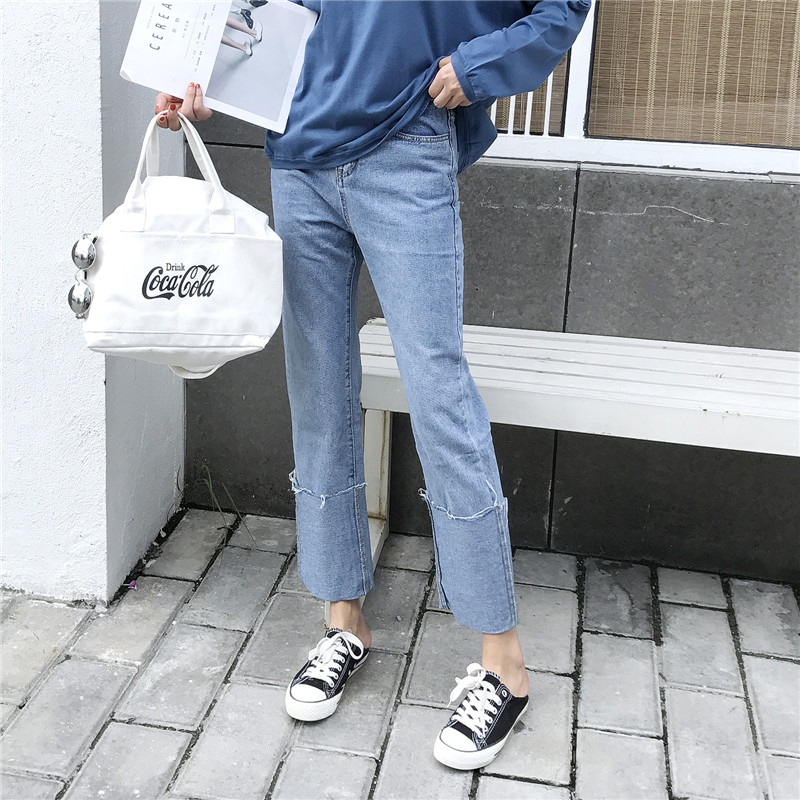 (现货)8004【模特实拍】春夏翻边直筒水洗纯棉 高腰显瘦女牛仔裤