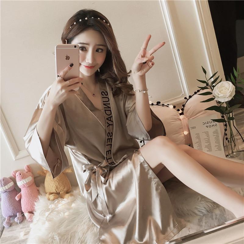 Lụa áo ngủ nữ mùa hè bộ đồ ngủ sexy băng lụa nụ lụa mùa xuân và mùa thu dài tay ren áo choàng tắm áo đơn mảnh