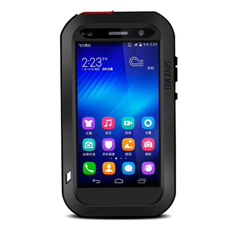 LOVE MEI Powerful Water Resistant Shockproof Dust/Dirt/Snow Proof Aluminum Metal Case Cover for Huawei Honor 6