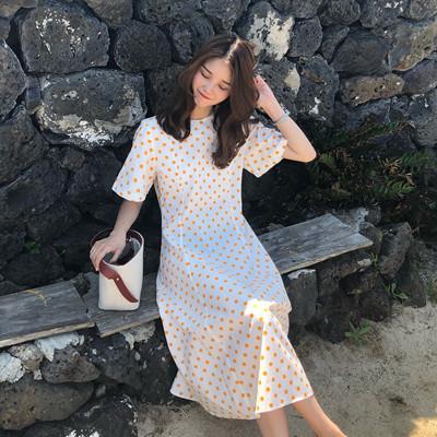 (实拍)韩版自制夏日ins超火可爱波点小清新中长款连衣裙女6110#