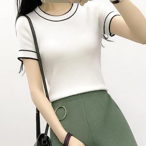 实拍学生薄款针织衫2017夏季韩版套头短袖打底衫修身显瘦短款