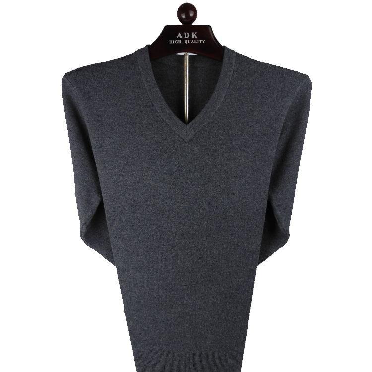 Vàng thỏ áo len nam mùa thu và mùa đông mới dày của nam giới áo len V-Cổ trung niên kinh doanh bình thường áo len tim-cổ