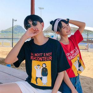 女装类目 2018新款情侣装夏装青少年印花短袖T恤衫 A358-1205-P38