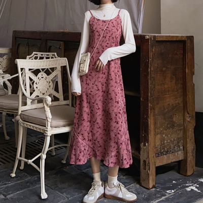 taobao agent French floral sling dress female spring autumn 2021 new style hot style retro design corduroy long skirt
