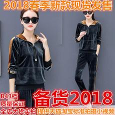 休闲套装女春装时尚潮2018新款女装天鹅金丝绒运动套装春秋两件套