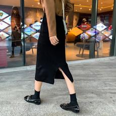 实拍实价9089# 秋冬韩版高腰针织半身裙中长款开叉A字裙