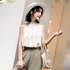 实拍8236#背心女夏外穿韩版宽松雪纺百搭打底上衣
