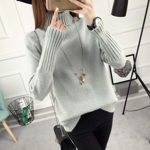 新款韩版纯色中长款针织衫