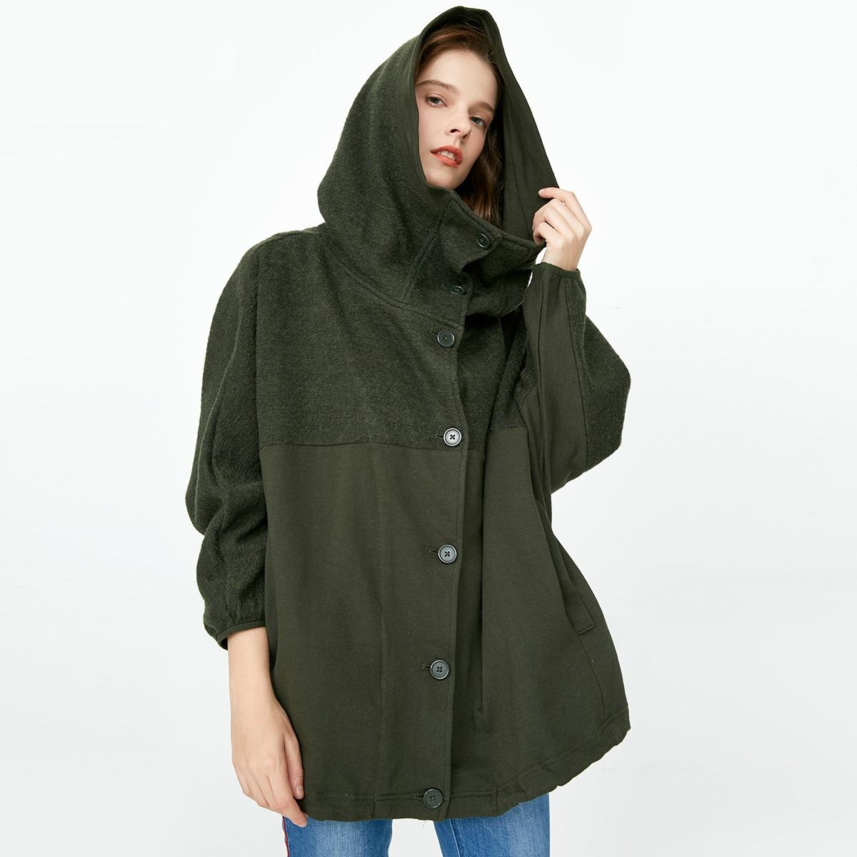 CHỈ đầu mùa thu lỏng bat tay áo trùm đầu áo gió áo dài nữ-116336523