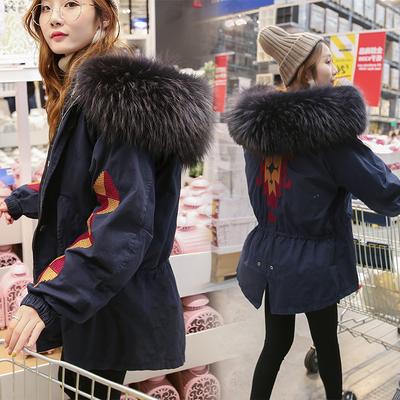 韩国东大门羽绒服女中长款超大毛领刺绣宽松加厚收腰学生冬装外套
