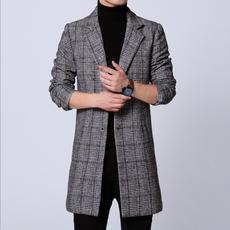 FY9007男士秋季新款大衣 青少年休闲大码 风衣外套 P135