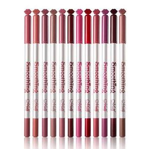 12 màu sắc thiết lập môi bút chì môi lót son môi bút chính hãng không thấm nước giữ ẩm kéo dài không- đánh dấu mờ Hàn Quốc sơn khỏa thân màu
