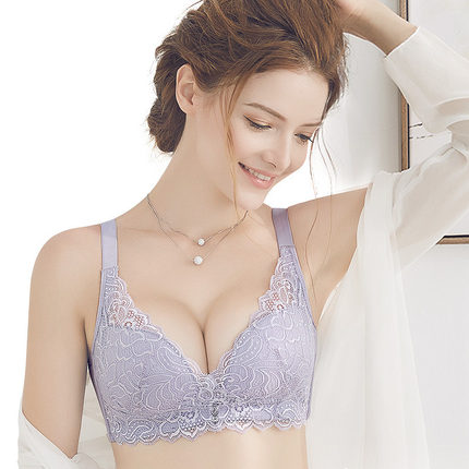 无钢圈文胸聚拢性感大码单层无海绵轻薄款大胸显小收副乳内衣胸罩