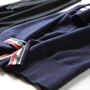 [Chống mùa] bốn thanh 30% cashmere 70% len ngắn tay của nam giới len cashmere áo len SMD145