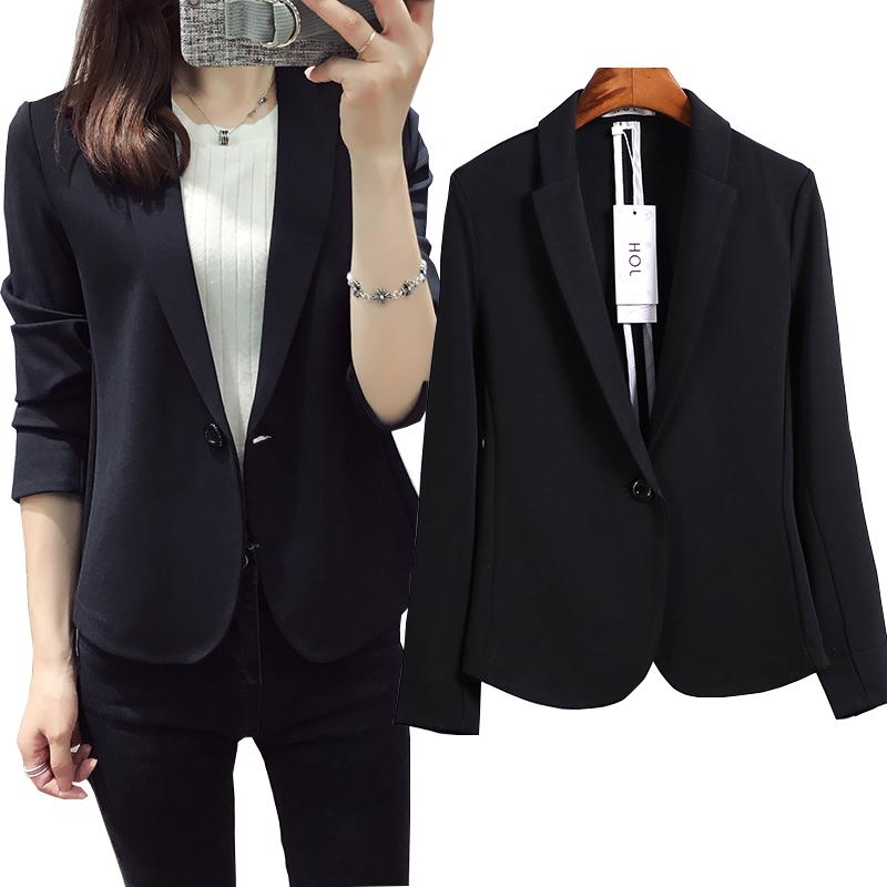 2018 Hàn Quốc phiên bản mới màu đen nhỏ phù hợp với nữ đoạn ngắn mùa xuân và mùa thu thường Slim phù hợp với áo khoác nữ là mỏng mùa thu
