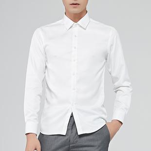 夏季新品男士透气舒适商务纯色森系修身衬衫简约时尚方领短袖衬衣