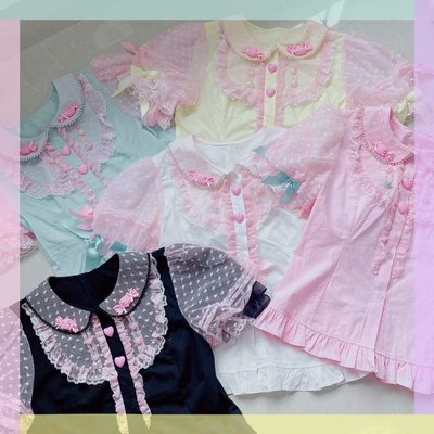 taobao agent 【New yu appointment】Sweet girl cotton lace short-sleeved summer lolita sweet macaron shirt