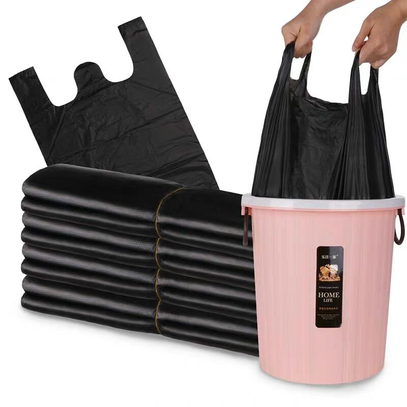 【有提手不怕脏】垃圾袋加厚 黑色手提背心式大号塑料袋垃圾袋子(非品牌)
