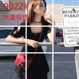 【林珊珊】修身显瘦时髦感镂空袖型设计感系带方领连衣裙黑粉两色