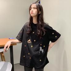 刺绣亮片t恤短袖女2019新款圆领宽松韩版学生洋气半袖春季上衣潮