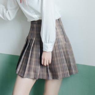 【哈根同学】学院风格子高腰侧链半身裙
