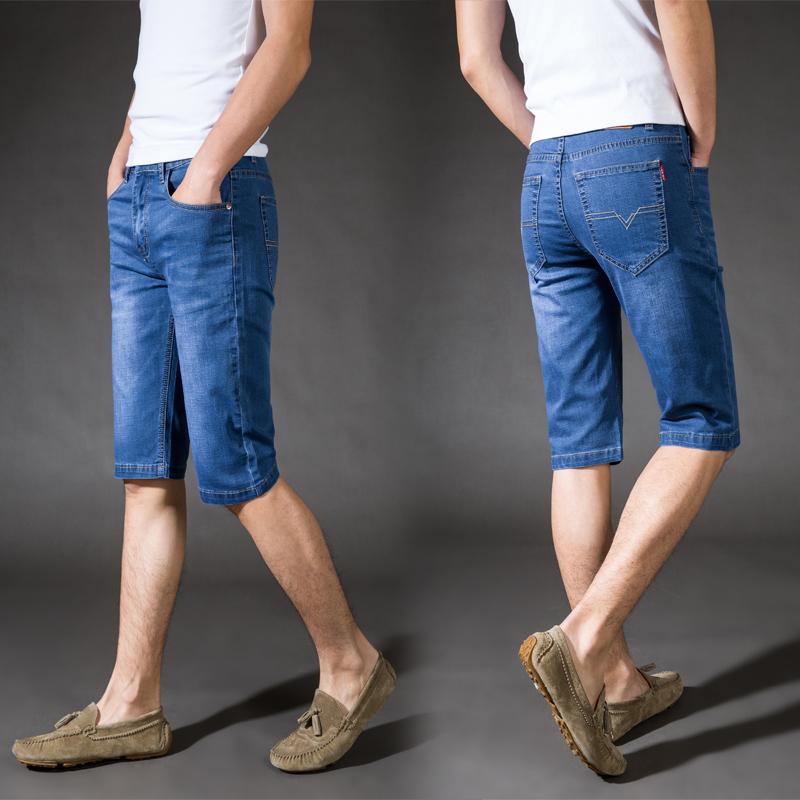 夏季2019新款薄青年大码牛仔短裤男士休闲5分裤弹力宽松牛仔中裤