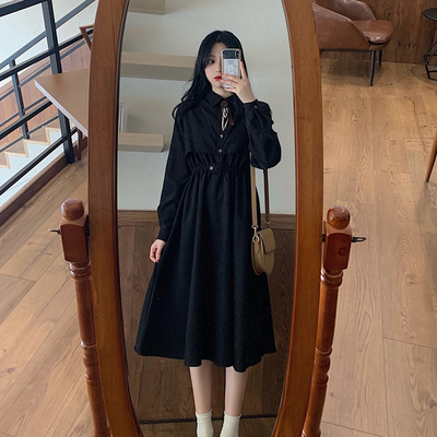 taobao agent Spring and autumn 2021 new retro bellflower skirt mid-length high-waisted thin western-style bowknot long-sleeved dress women's clothing