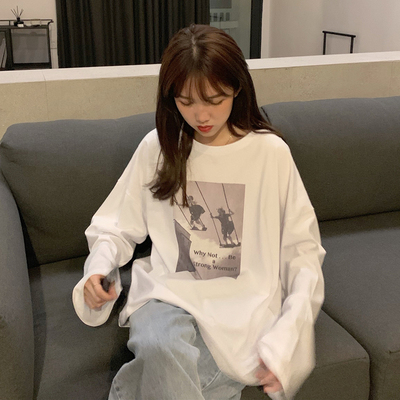taobao agent White long-sleeved women's clothing chic Hong Kong flavor spring, autumn and winter wear a bottoming shirt 2021 new t-shirt ins tide