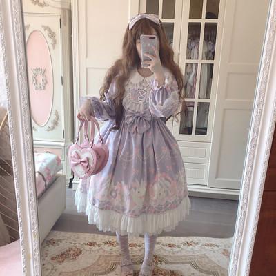 taobao agent Doujiang original design autumn perfume Tutu Lolita gentle pink purple lace princess dress