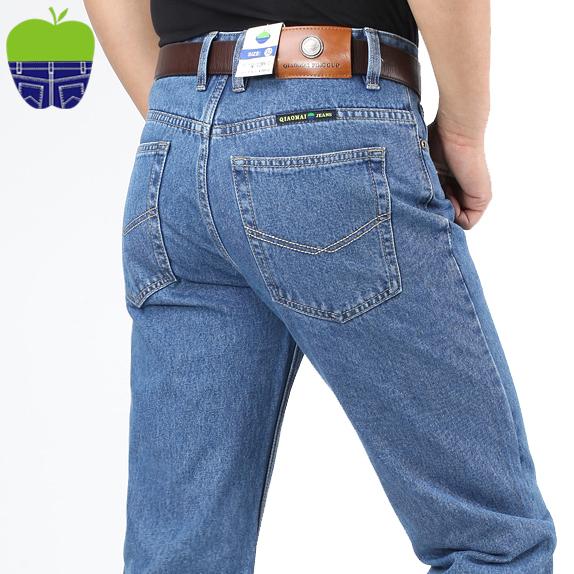 Chính hãng Của Apple Jeans Mùa Xuân và Mùa Thu Dày Cao Eo Người Đàn Ông Lỏng Lẻo của Trung Quần Cotton Miễn Phí Hot Daddy Mỏng