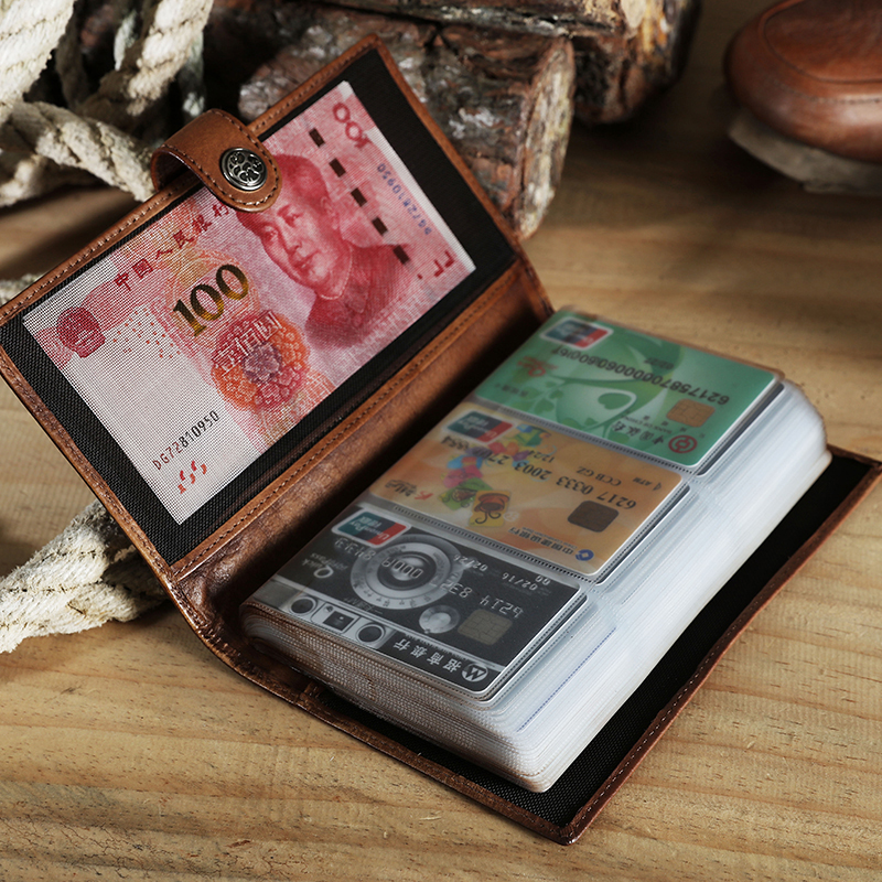 Làm bằng tay da bò ví người đàn ông đa- thẻ da retro dài khóa ví lớn thẻ kinh doanh dung lượng thẻ tín dụng gói