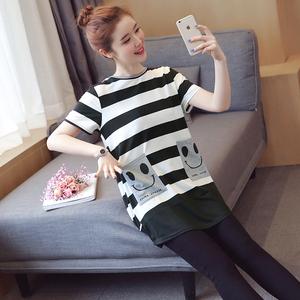 《原创亚博娱乐平台入口》6145#笑脸条纹爆款夏装孕妇条纹T恤 (大量现货)