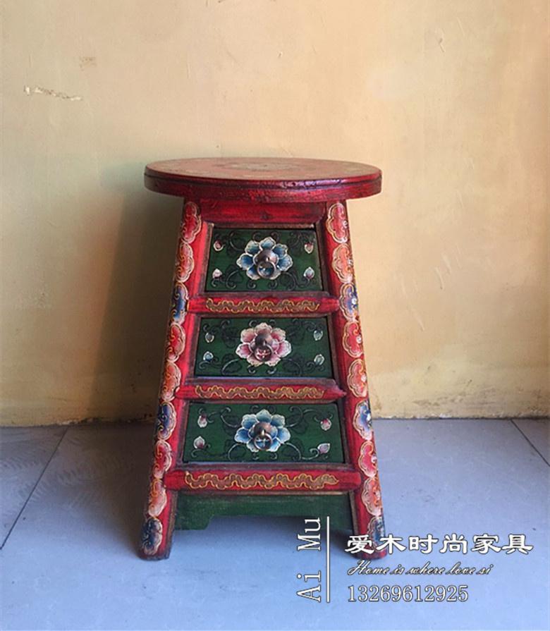 Cổ điển Tây Tạng sơn khuôn mặt tròn băng ghế dự bị mặc quần áo phân ngăn kéo phân new Trung Quốc gỗ rắn đồ nội thất cổ ghế băng ghế dự bị