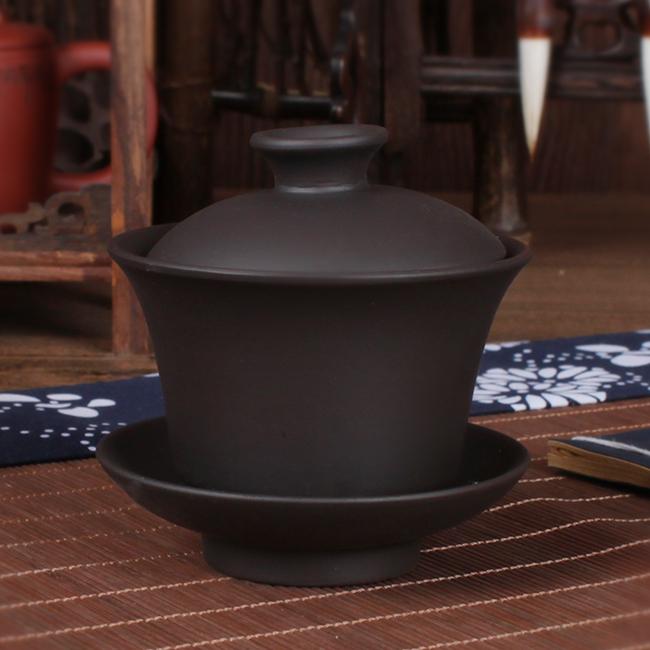 Kungfu tea set hộ gia đình trà bát tím cát ba bát chén gốm lớn bìa bowl set với nắp sản xuất bia trà bát