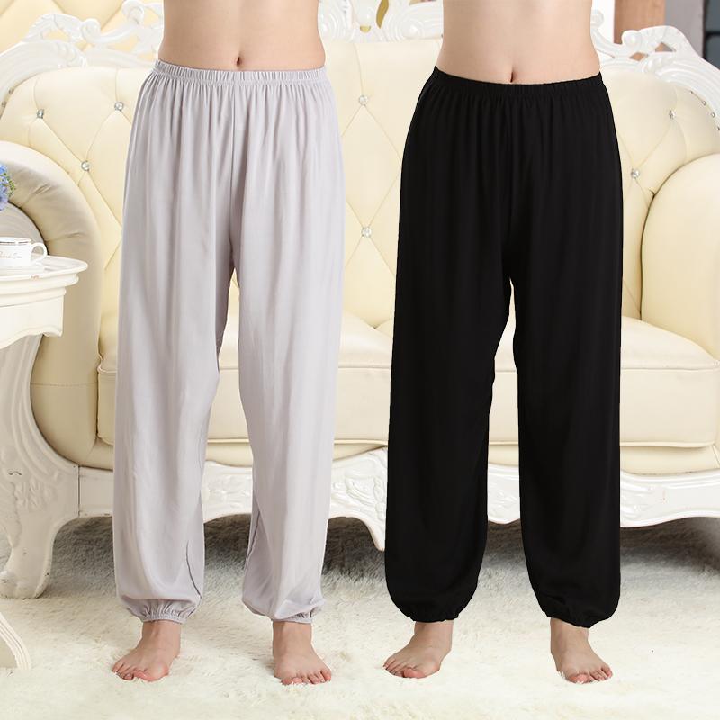 Pajama quần nữ mùa hè bông quần cotton quần quần cotton lỏng quần lụa nhân tạo cotton nam mỏng dành cho người lớn quần muỗi
