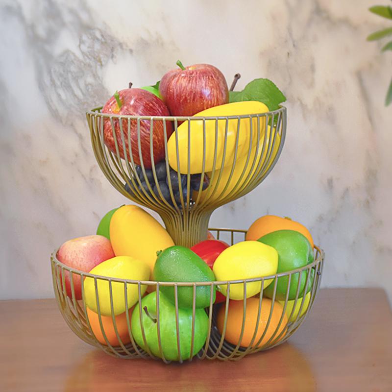 水果盘客厅双层水果篮时尚创意果盆点心盆多层架欧式糖果盆收纳架